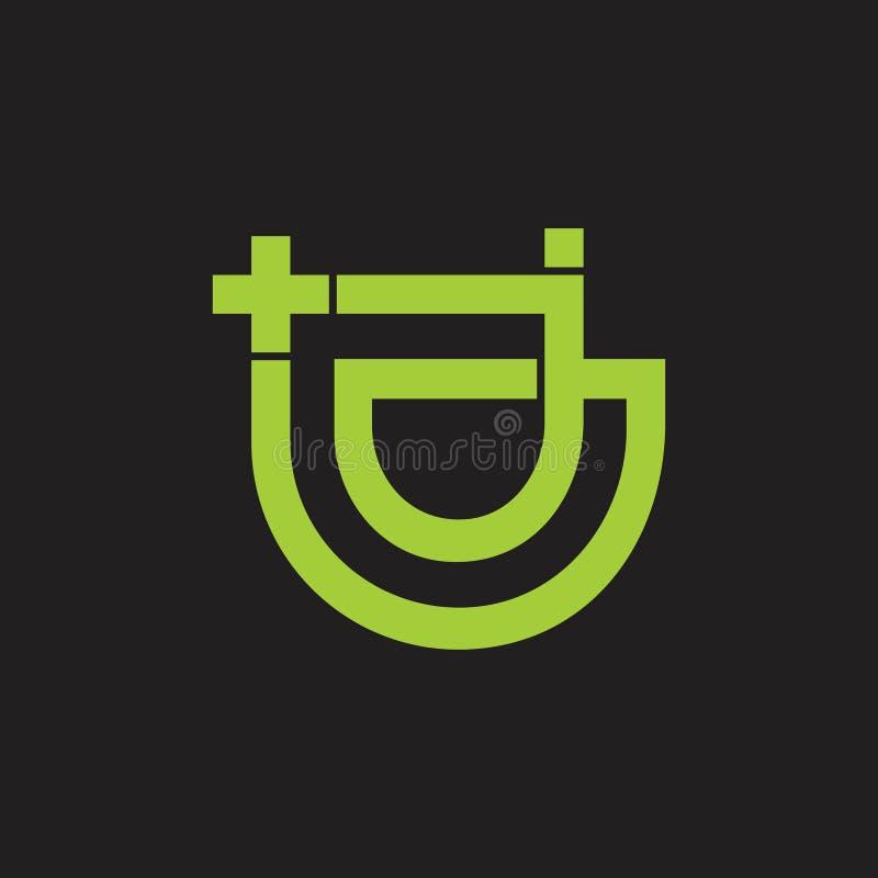 Linha geométrica abstrata vetor das letras j do logotipo médico ilustração royalty free