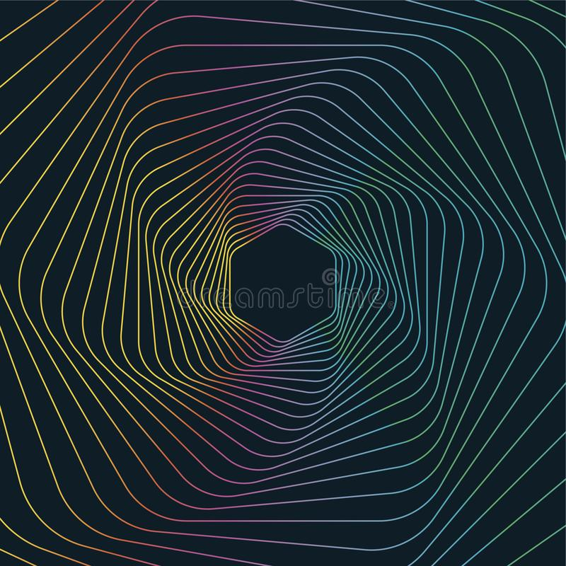 Linha geométrica Art Background, fundo geométrico sextavado abstrato ilustração royalty free