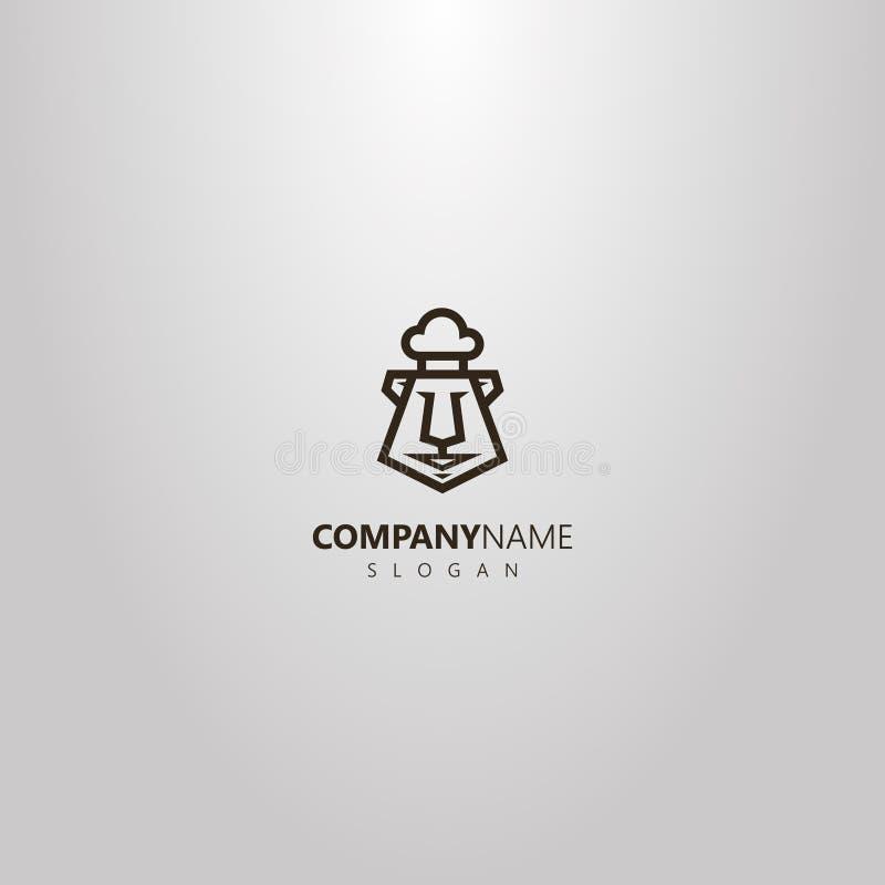 Linha geométrica logotipo do vetor da arte de uma cabeça do urso dos desenhos animados em uma mantilha do cozinheiro chefe ilustração royalty free