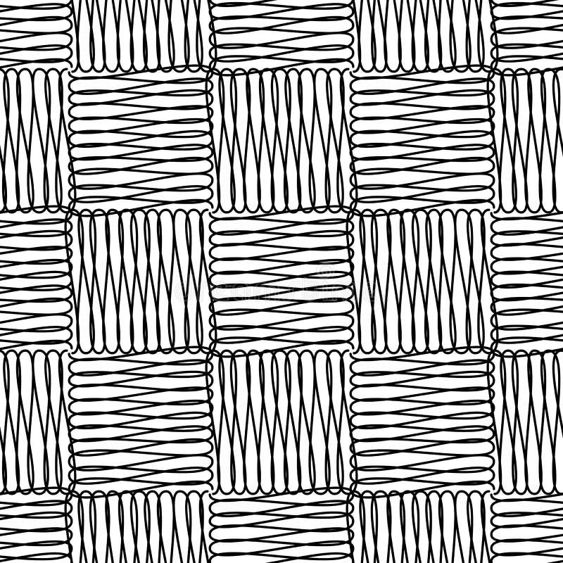 Linha geométrica teste padrão sem emenda da garatuja do vetor dos quadrados da arte Fundo quadriculado decorativo preto e branco  ilustração stock
