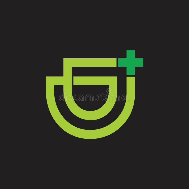 Linha geométrica vetor de g das letras abstratas do logotipo médico ilustração do vetor