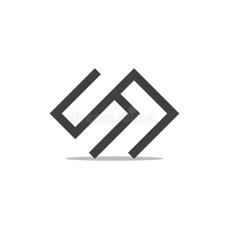 Linha geométrica vetor do sn abstrato das letras do logotipo ilustração stock