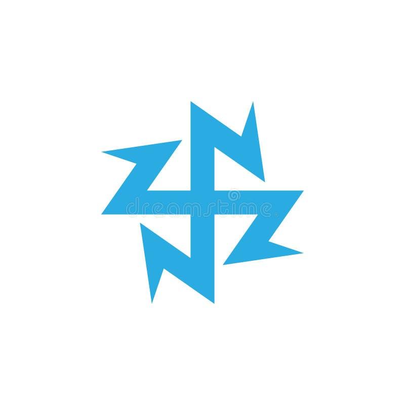 Linha geom?trica vetor do c?rculo abstrato do zn das letras do logotipo ilustração stock