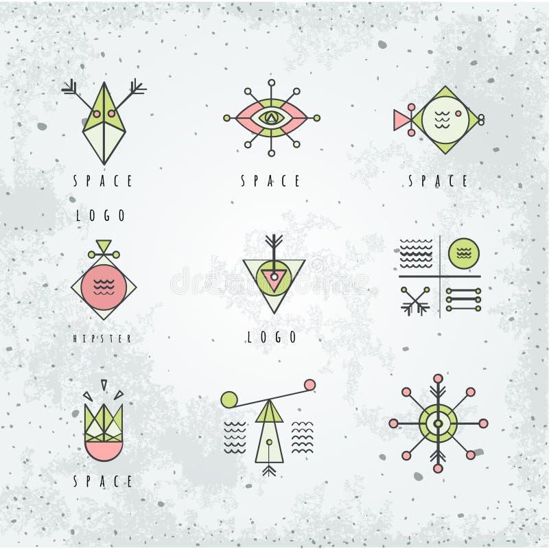 Linha geometria das formas estilo do polígono com formas geométricas ilustração do vetor