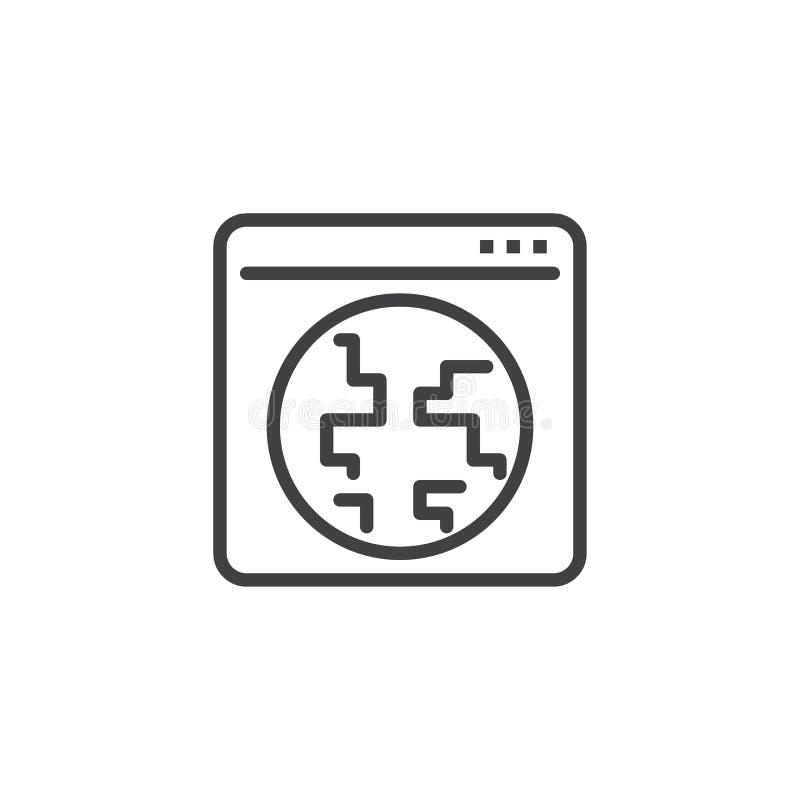 Linha global ícone da janela do browser do Internet ilustração stock