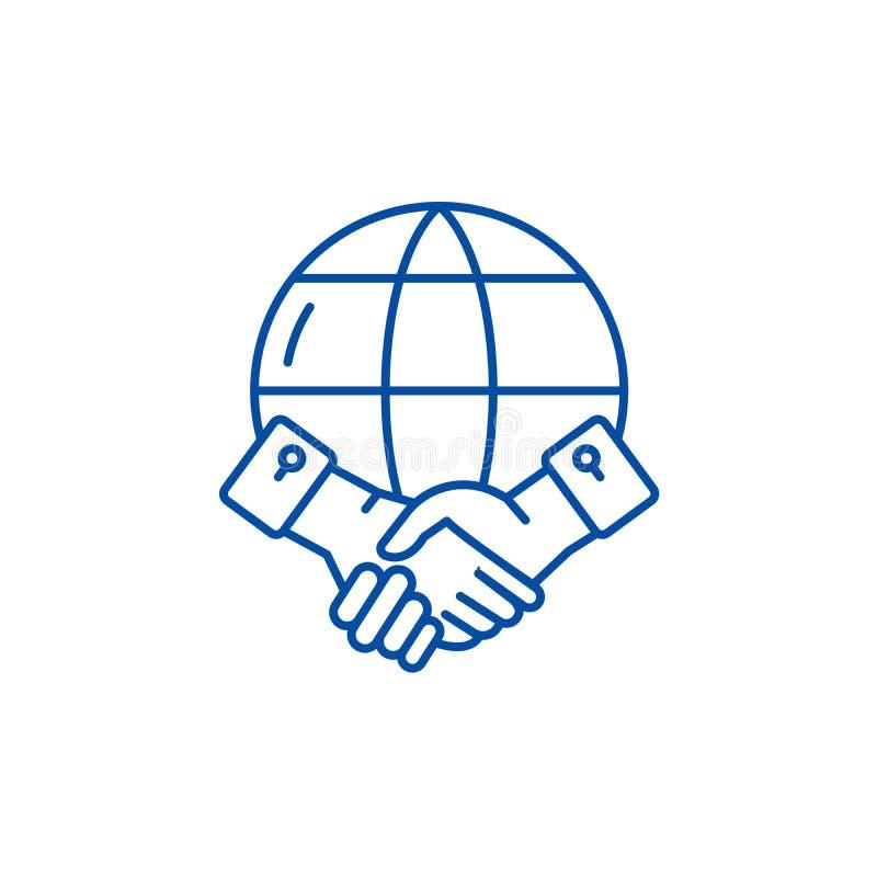 Linha global conceito da parceria do ícone Símbolo liso do vetor da parceria global, sinal, ilustração do esboço ilustração stock