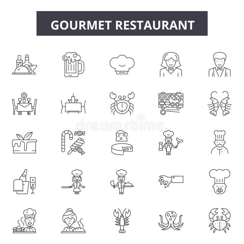 Linha gourmet ícones do restaurante, sinais, grupo do vetor, conceito da ilustração do esboço ilustração royalty free