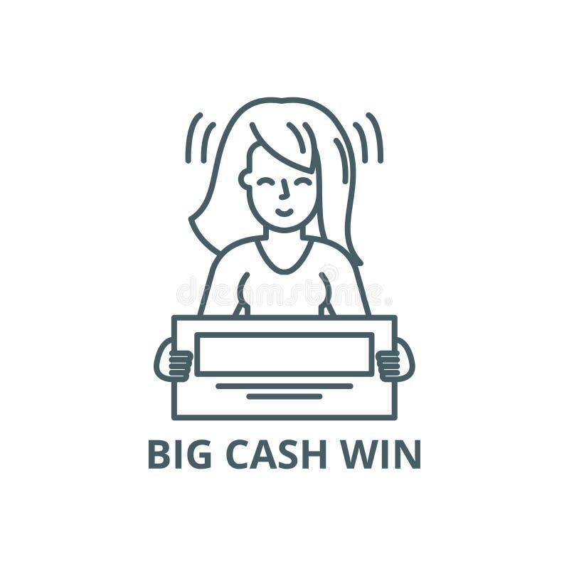 Linha grande ícone da vitória do dinheiro, vetor Sinal grande do esboço da vitória do dinheiro, símbolo do conceito, ilustração l ilustração royalty free