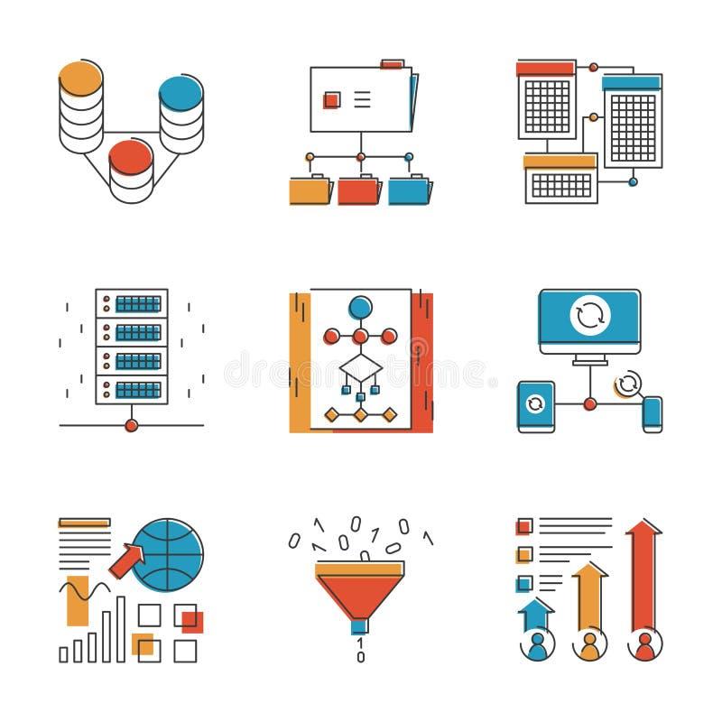 Linha grande ícones dos dados e da análise de rede ajustados ilustração stock
