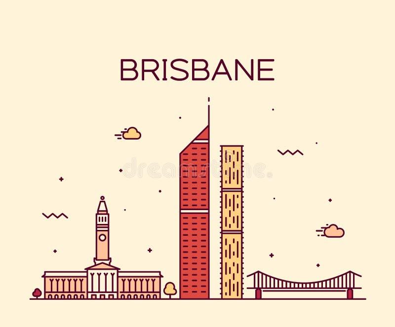 Linha grande do vetor de Austrália da cidade da skyline de Brisbane ilustração royalty free