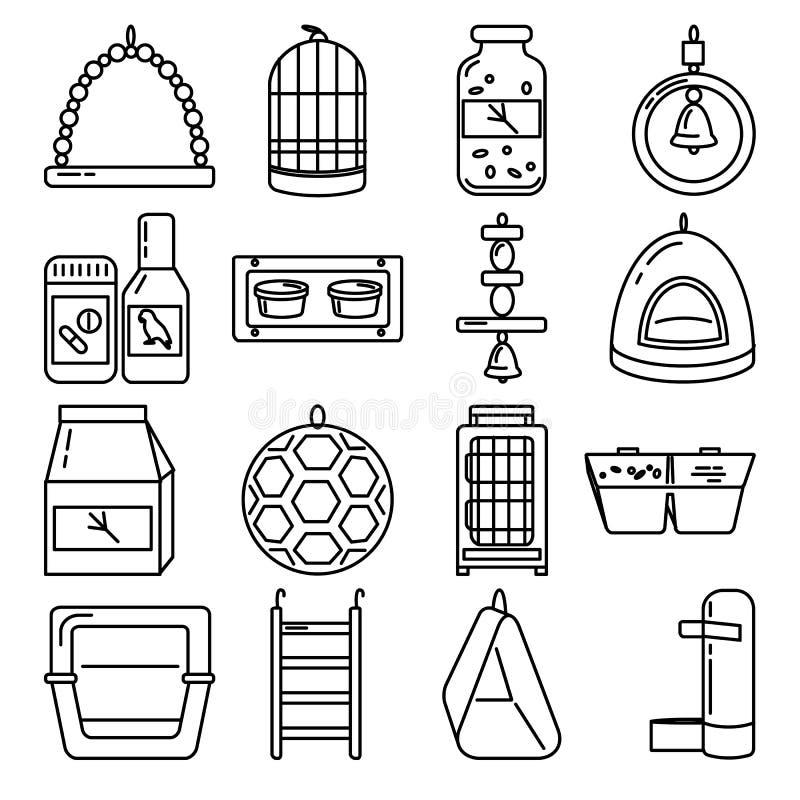 Linha grande grupo do ícone dos acessórios para o pássaro na gaiola ilustração stock
