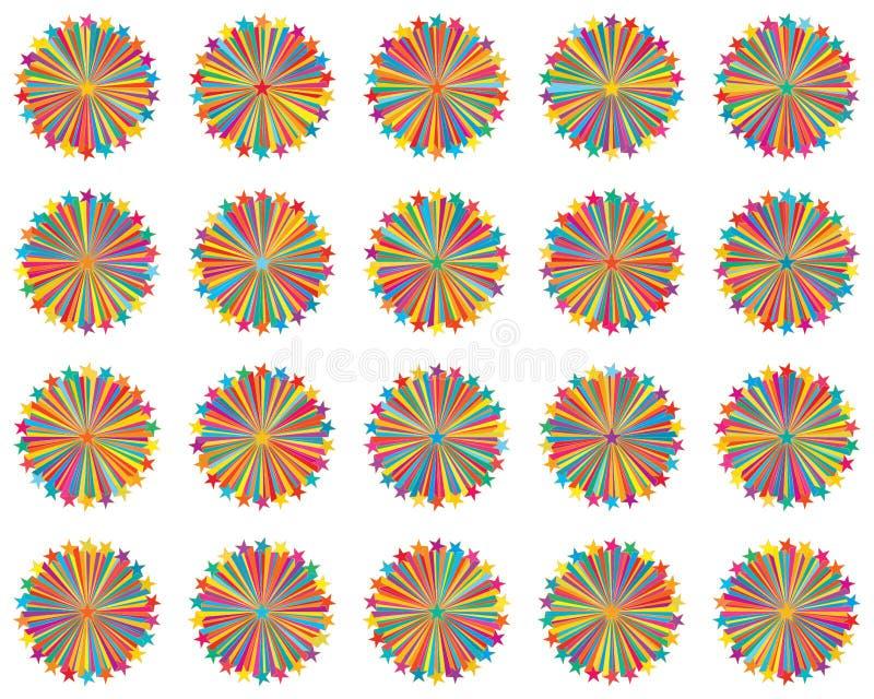 Linha grupo 20 colorido do raio da estrela ilustração do vetor