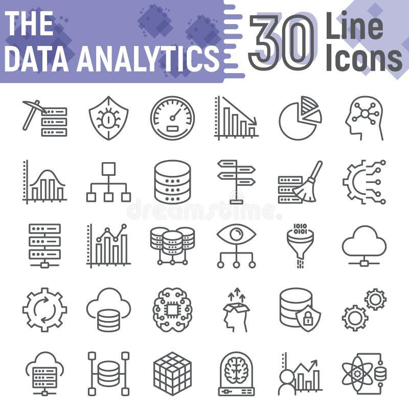 Linha grupo da analítica dos dados do ícone, símbolos do base de dados ilustração stock