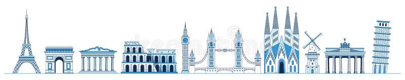 Linha grupo da arte de monumentos e de marcos europeus, torre Eiffel, arco triunfal, Partenon, torre inclinada de Pisa, torre ilustração royalty free