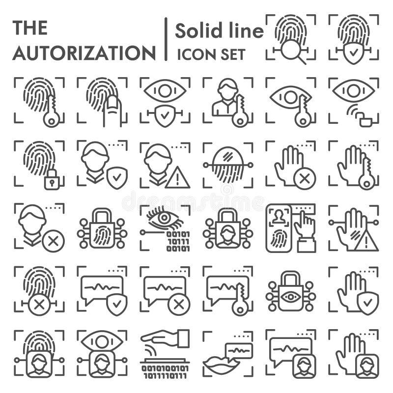 Linha grupo da autorização da segurança do ícone, símbolos coleção do varredor da identificação, esboços do vetor, ilustrações do ilustração stock