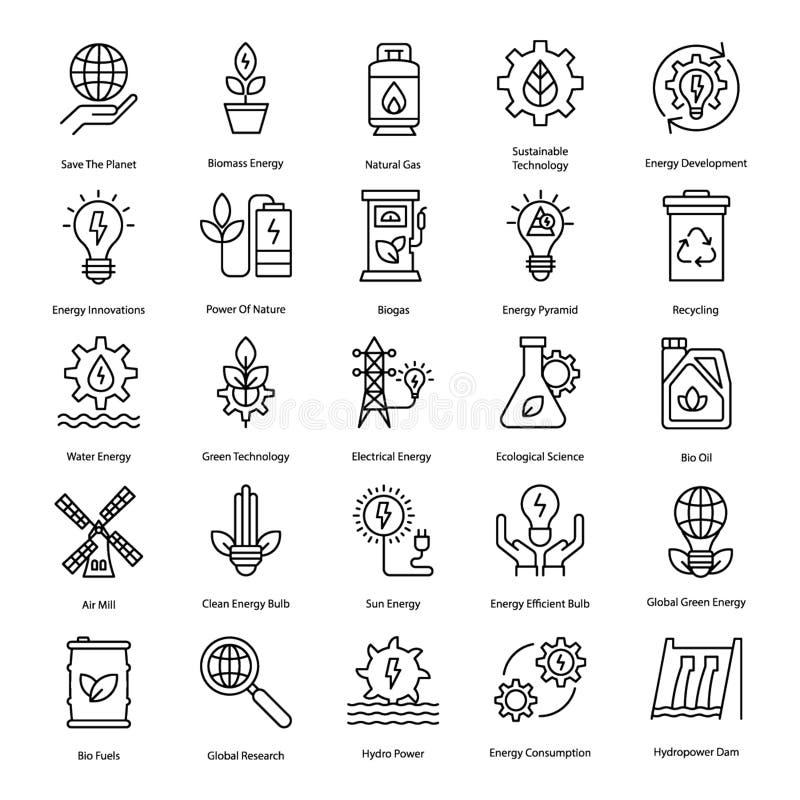 Linha grupo da energia limpa dos ícones ilustração stock