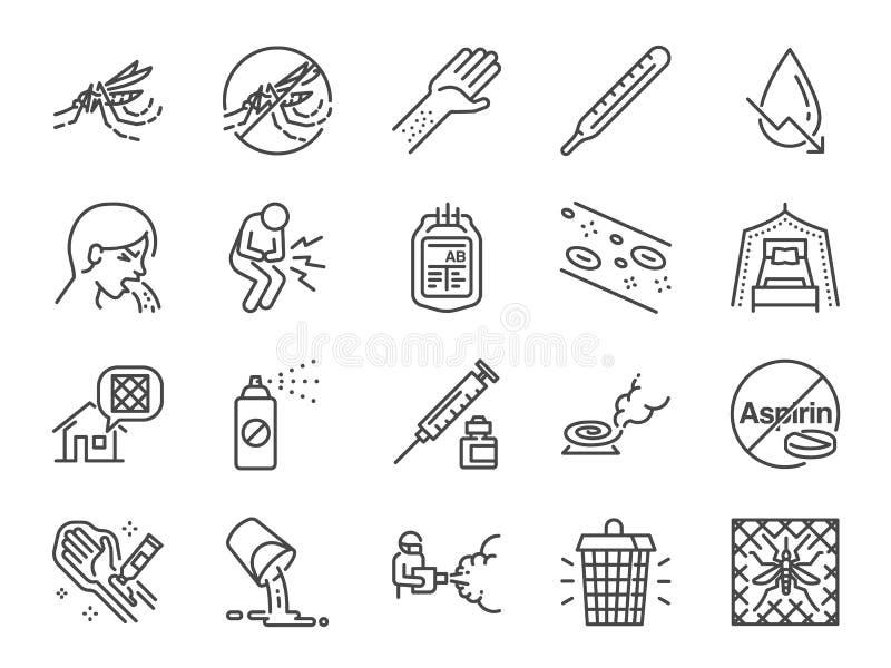 Linha grupo da febre de dengue do ícone Incluiu os ícones como o vírus de dengue, o assassino do mosquito, o repelente de insetos ilustração stock