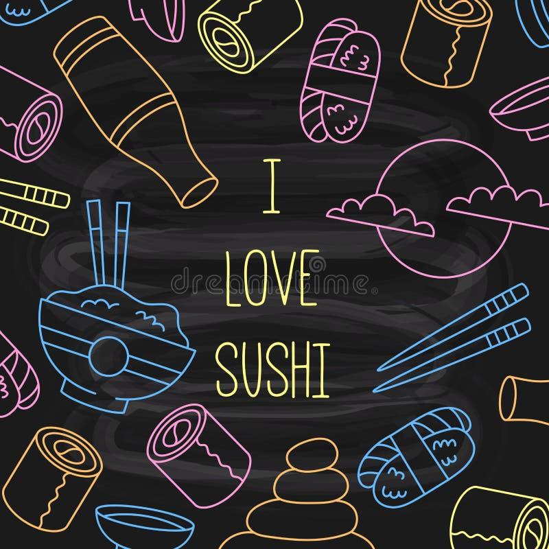 Linha grupo da garatuja do sushi dos ícones do vetor ilustração do vetor