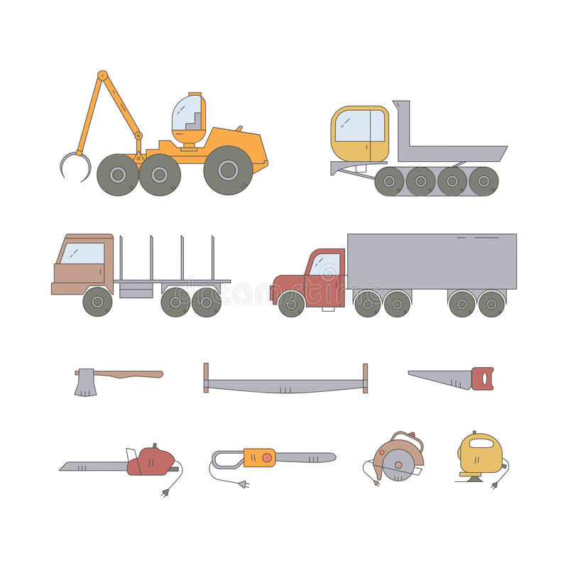 Linha grupo da indústria da floresta do ícone ilustração do vetor