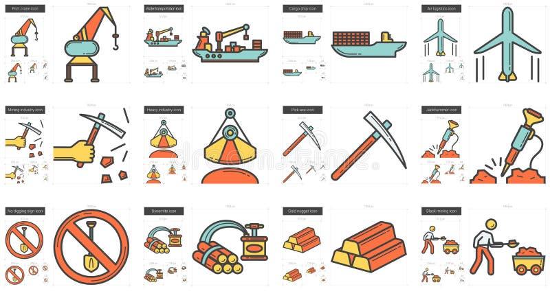 Linha grupo da indústria do ícone ilustração stock