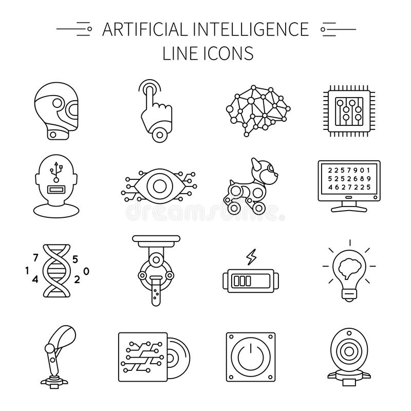 Linha grupo da inteligência artificial do ícone