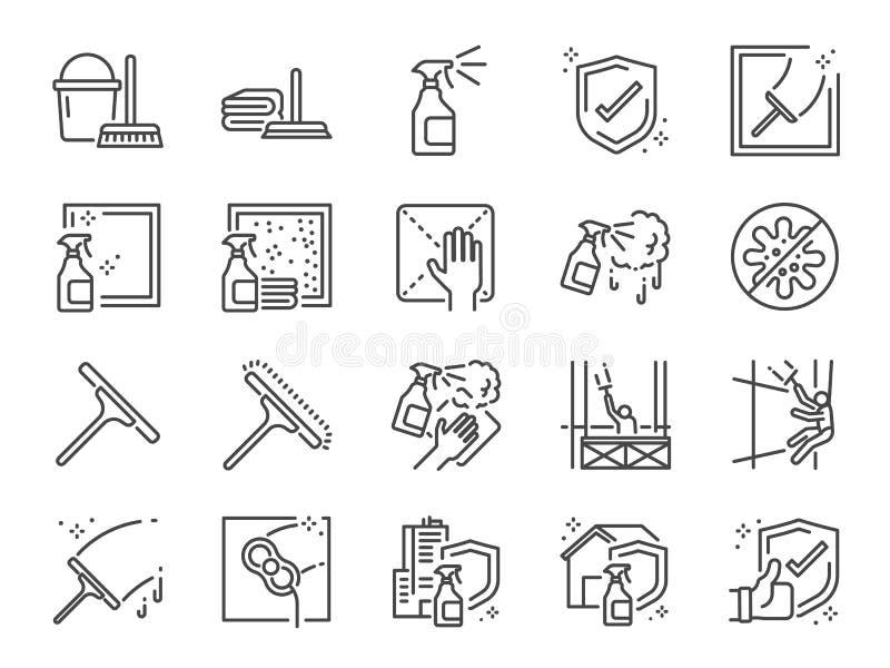 Linha grupo da limpeza de janela do ícone Ícones como serviços mais limpos, limpo incluídos, carreira, trabalho, ocupação, esponj ilustração do vetor