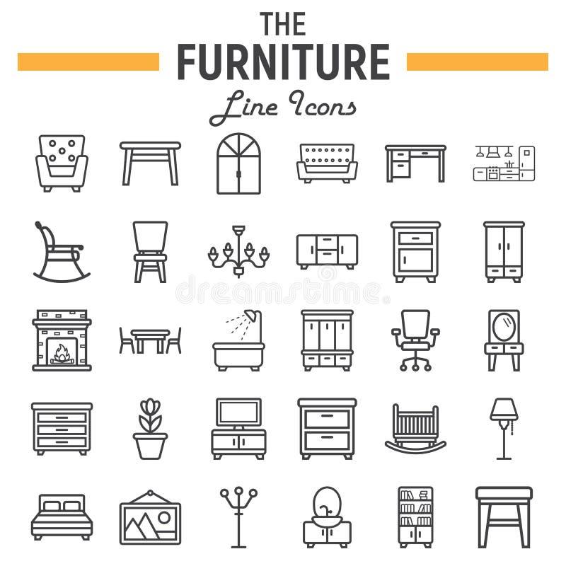 Linha grupo da mobília do ícone, coleção interior do sinal ilustração stock
