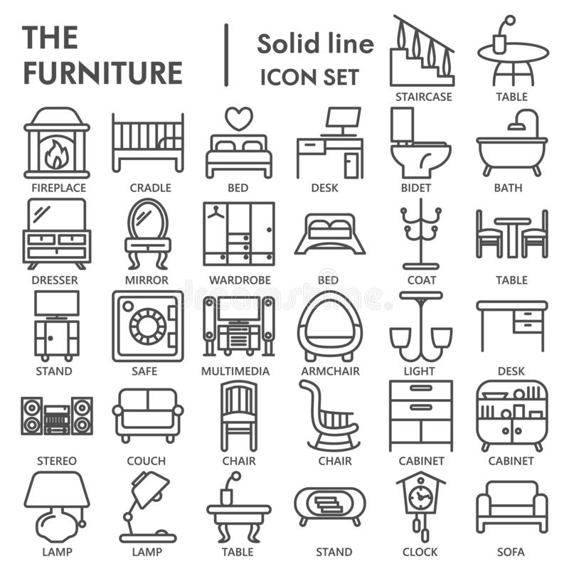 Linha grupo da mobília do ícone, símbolos interiores coleção, esboços do vetor, ilustrações do logotipo, pictograma lineares dos  ilustração do vetor