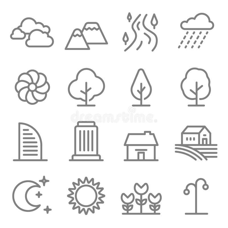 Linha grupo da paisagem da natureza do ícone do vetor Árvores do esboço e montanhas, ícones do rio Construção da cidade, casa, ca ilustração stock