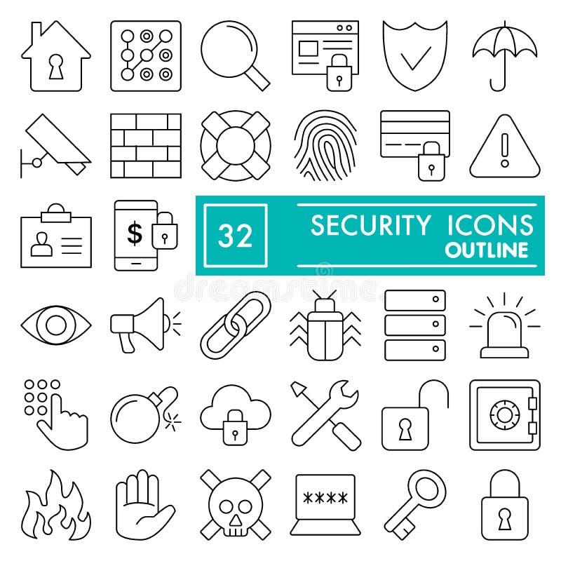 A linha grupo da segurança do ícone, símbolos coleção da segurança, esboços do vetor, ilustrações do logotipo, proteção assina li ilustração stock