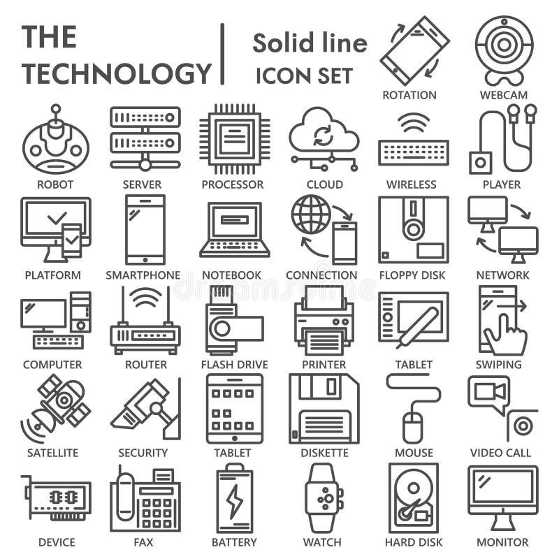 Linha grupo da tecnologia do ícone, símbolos coleção do dispositivo, esboços do vetor, ilustrações do logotipo, pictograma linear ilustração royalty free