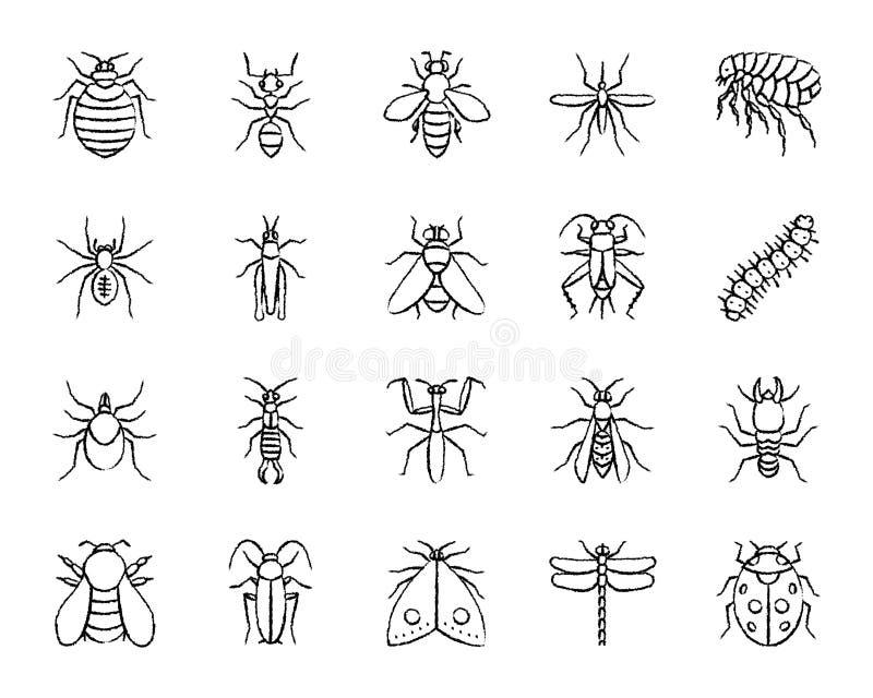 Linha grupo da tração do carvão vegetal do inseto do perigo do vetor dos ícones ilustração royalty free