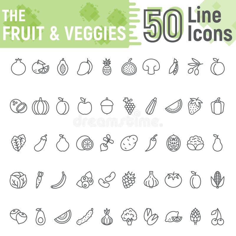 Linha grupo das frutas e legumes do ícone, vegetariano ilustração royalty free