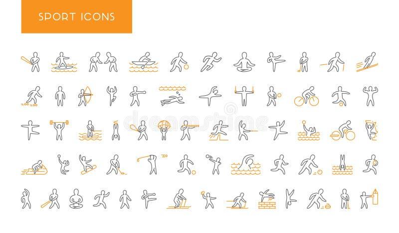 Linha grupo de ícones dos esportes Símbolo linear do vetor dos desportistas ilustração do vetor