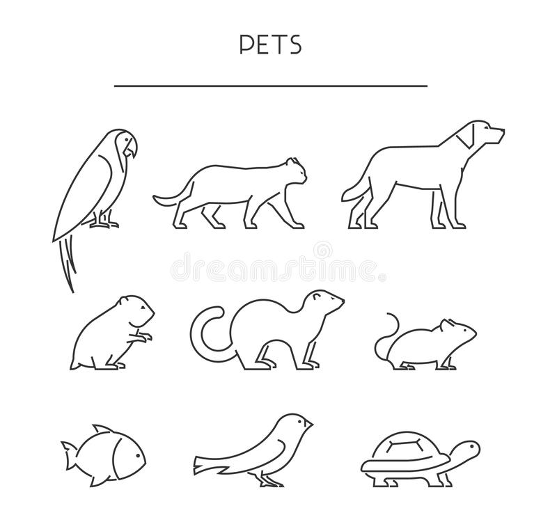 Linha grupo de animais de estimação Animais lineares das silhuetas isolados no branco ilustração royalty free
