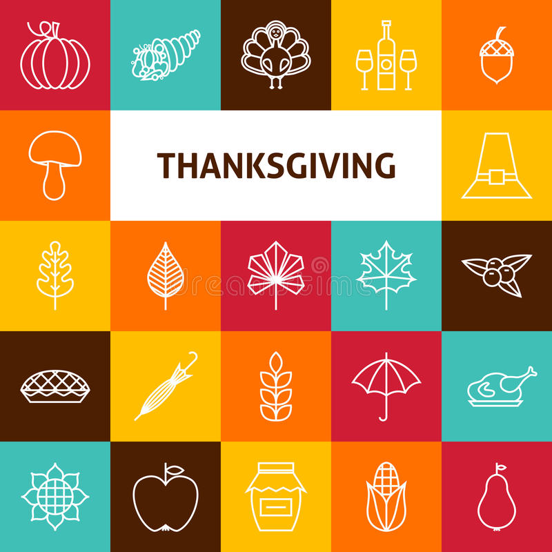 Linha grupo de Art Thanksgiving Day Holiday Icons ilustração royalty free