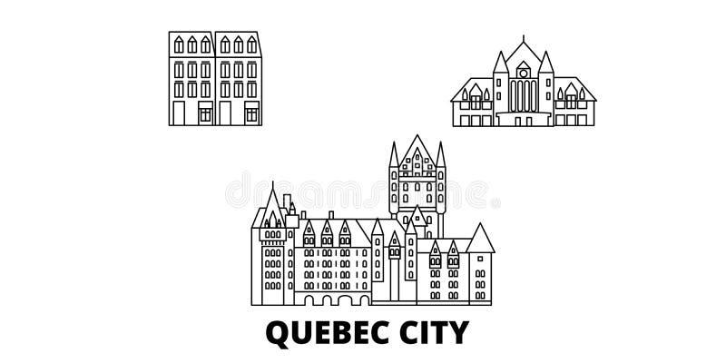 Linha grupo de Canad?, Cidade de Quebec da skyline do curso Ilustra??o do vetor da cidade do esbo?o de Canad?, Cidade de Quebec,  ilustração stock