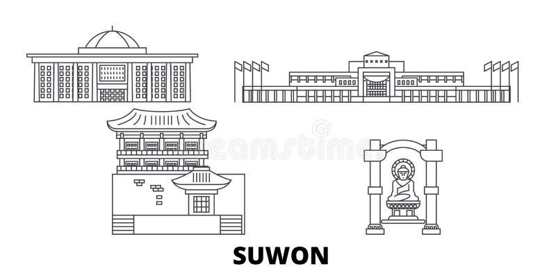 Linha grupo de Coreia do Sul, Suwon da skyline do curso Ilustração do vetor da cidade do esboço de Coreia do Sul, Suwon, símbolo, ilustração stock