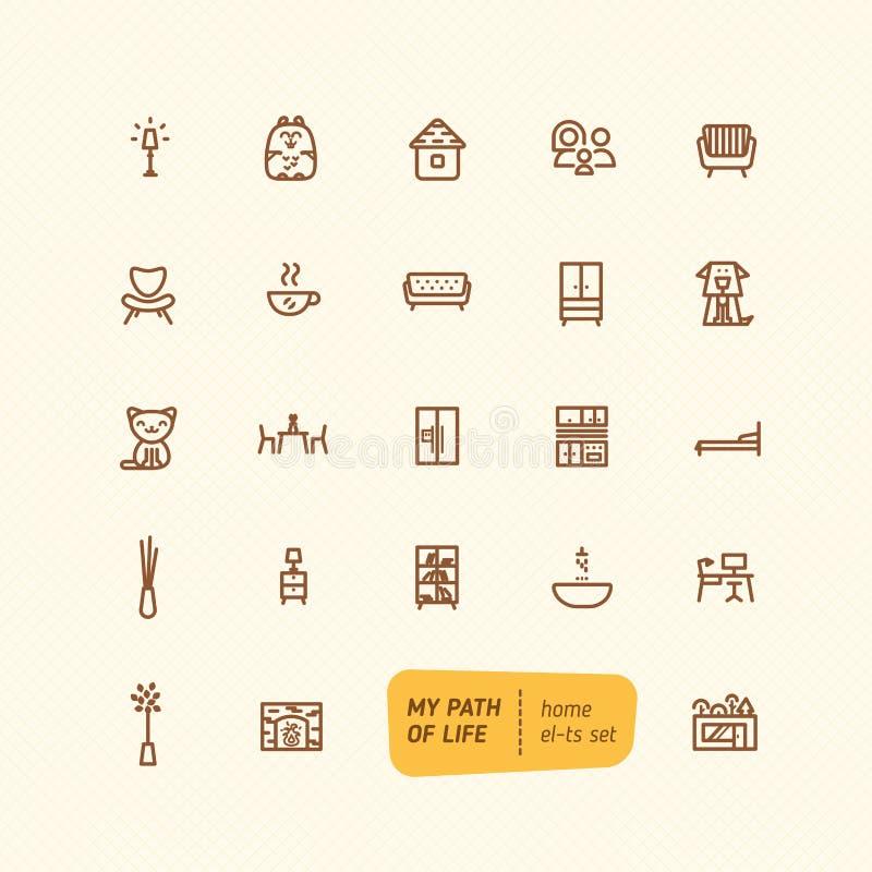 Linha grupo de elementos home doce ilustração stock