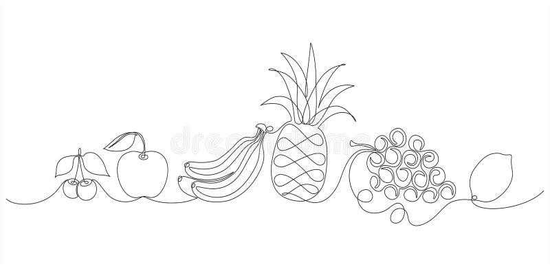 linha grupo de 3 frutos um fotografia de stock