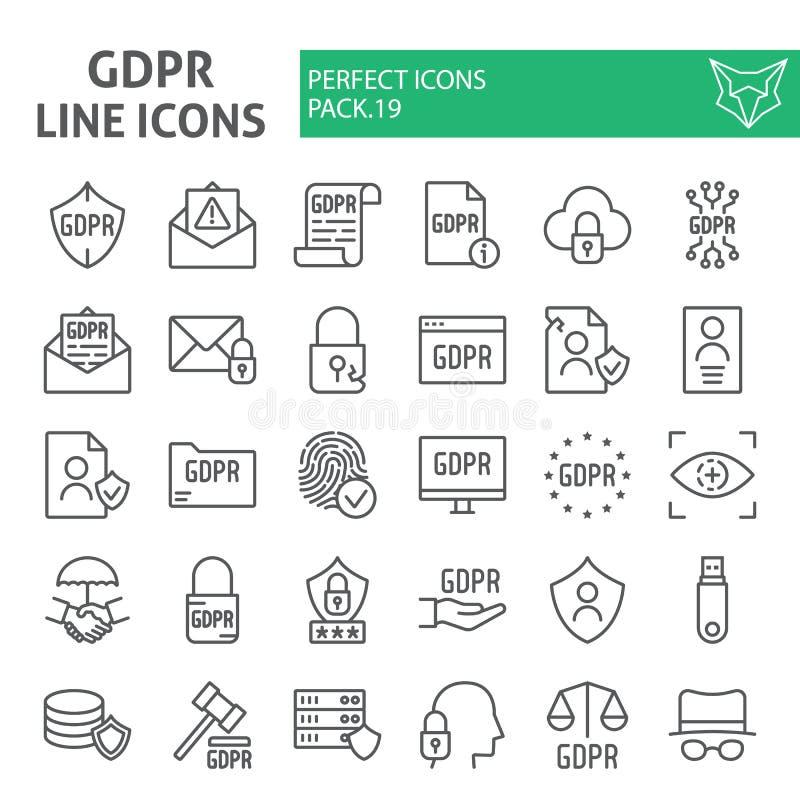 Linha grupo de Gdpr do ícone, símbolos regulamentares coleção da proteção de dados geral, esboços do vetor, ilustrações  ilustração do vetor