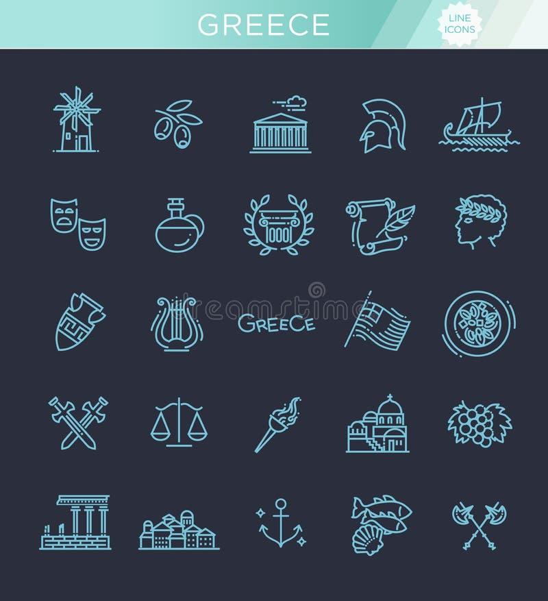 Linha grupo de Grécia do ícone Vetor ilustração stock