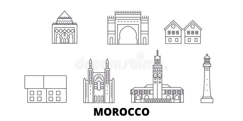 Linha grupo de Marrocos da skyline do curso Ilustração do vetor da cidade do esboço de Marrocos, símbolo, vistas do curso, marcos ilustração stock