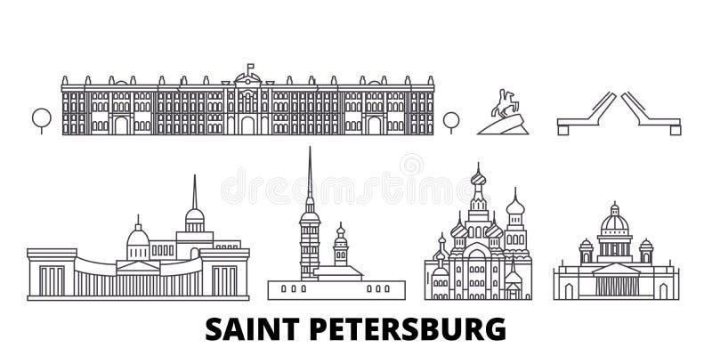Linha grupo de Rússia, St Petersburg da skyline do curso Ilustração do vetor da cidade do esboço de Rússia, St Petersburg, símbol ilustração stock