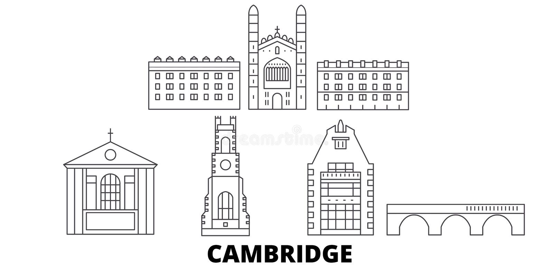 Linha grupo de Reino Unido, Cambridge da skyline do curso Ilustração do vetor da cidade do esboço de Reino Unido, Cambridge, símb ilustração stock