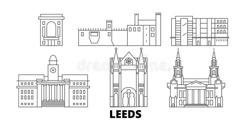 Linha grupo de Reino Unido, Leeds da skyline do curso Ilustração do vetor da cidade do esboço de Reino Unido, Leeds, símbolo, cur ilustração royalty free