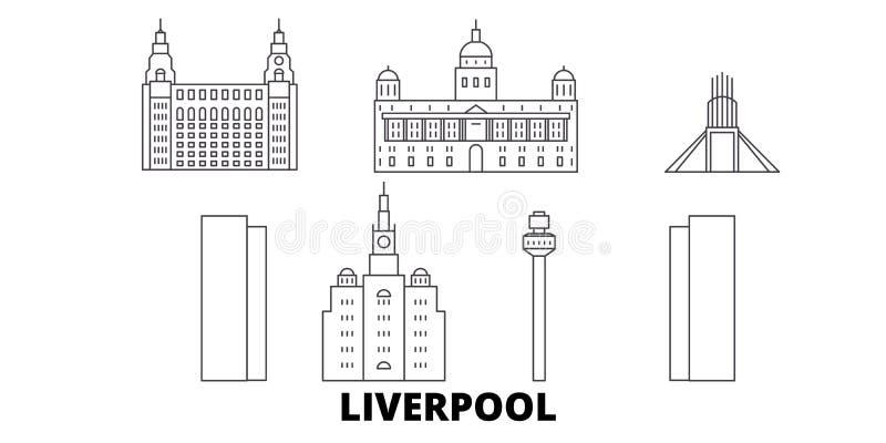Linha grupo de Reino Unido, Liverpool da skyline do curso Ilustração do vetor da cidade do esboço de Reino Unido, Liverpool, símb ilustração royalty free
