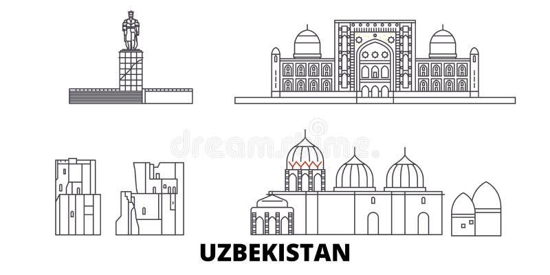 Linha grupo de Usbequistão da skyline do curso Ilustração do vetor da cidade do esboço de Usbequistão, símbolo, vistas do curso,  ilustração royalty free