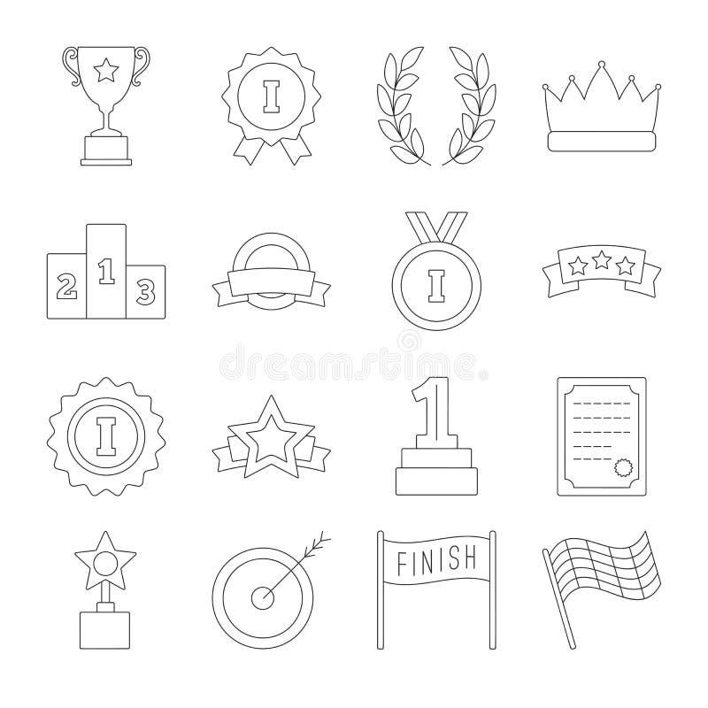 Linha grupo do ícone da vitória ilustração royalty free