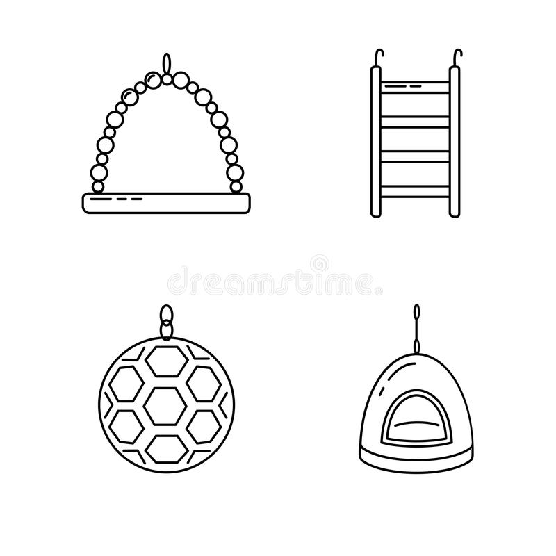 Linha grupo do ícone dos acessórios para o pássaro na gaiola ilustração royalty free